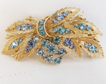 Vintage jewelry brooch by Lisner gold with sky blue rhinestones designer wedding brooch