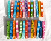 CUSTOM LISTING for Stacy colorful hand painted magnetic clothespins