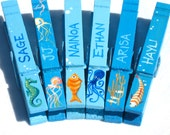 6 SEA CREATURE CLOTHESPINS magnetic personalized