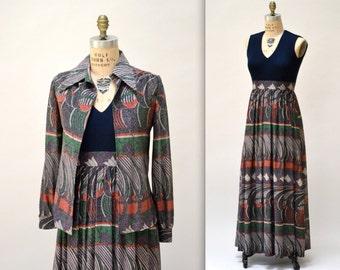 70s Vintage Metallic Dress Size Small Medium Maxi Dress Gown by Huey Waltzer// Vintage Metallic Gown and Jacket size Small
