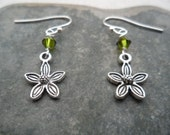 Sweet Little Silver Flower Earrings - Olive Green - Dangle - Earthy Everyday Jewelry