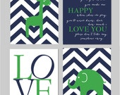 "Navy and Green Nursery You Are My Sunshine Elephant Giraffe Love Chevron Prints - Art for Nursery - Set of four 8""x10"" prints"