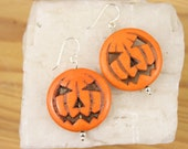 Orange Halloween Pumpkin Earrings LAST PAIR Ceramic Pumpkin earrings Sterling Silver French Wires