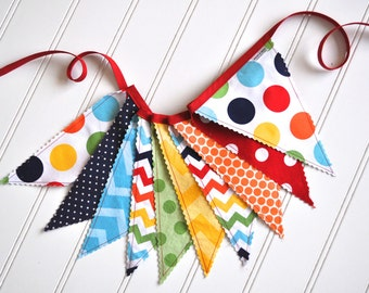 Colorful Fabric Banner, Bunting, Birthday Decoration - Polka Dots & Chevron