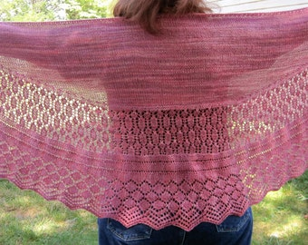Knit Shawl Pattern:  Lismore Long Wingspan Shawl Knitting Pattern