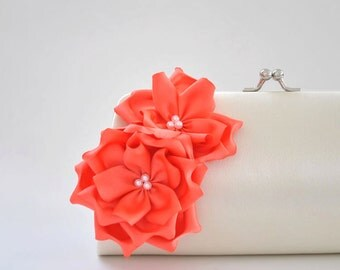 Ivory - Living Coral - Bridal clutch / Bridesmaid clutch