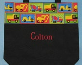 Personalized tote bag boys black canvas kids preschool daycare library book bag little boy birthday gift idea construction trucks