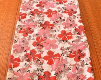 Table Runner double sided- red and black Asian floral and plaid - 56 by 16.5