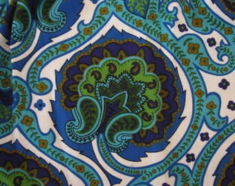 The most beautiful fabric in the world vintage 5th Avenue paisley cobalt turquoise blue green tiny window valance