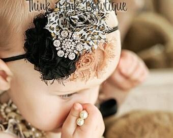 Baby Headband,Newborn Headband, Baby girl Headband,baby headbands, shabby headband, infant headband, Headbands ,Leopard headband,Baby Bows.