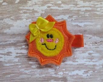 Smiley Sunshine Hair Clippie - Felt Clip - Party Favor