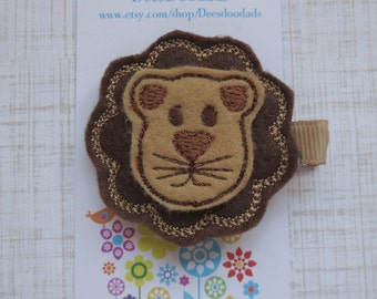 Leo the Lion Felt Clippie - Little Girl Clippie - Party Favor - Hair Clip