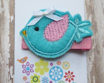 Little Aqua Bird Felt Embroidered Hair Clip - Clippie - Party Favor