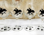 Set of 4 hand painted fox hunt, horse and hound wine glasses