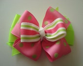 Pink and Lime Green Stacked Boutique Bow