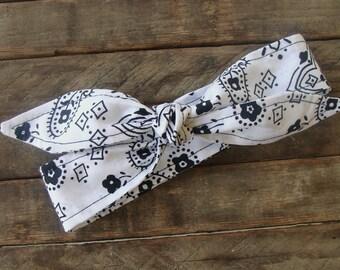 Headband White Bandanna Girls Teen Women Hair Accessory Headscarf Bandana Hairband
