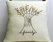 Personalized Family Tree Pillow Cover. Art. AUTUMN Fall Shade Leaves. Christmas for In Laws. Grandma. Wedding Anniversary. Mother-In-law.