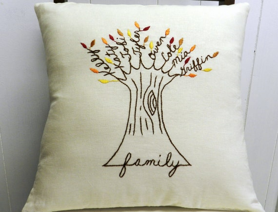 Personalized Family Tree Pillow Cover. Anniversary Gift. AUTUMN Leaves. Family pillow. Christmas for Mom. Birthday for Mom. Fall Decor.