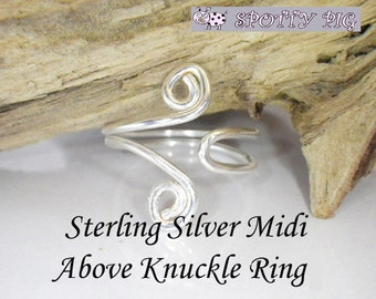 STERLING SILVER .925 Midi Ring, Adjustable, Above Over Knuckle