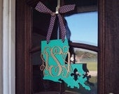 State Monogram Door hanger - Any state/any colors!