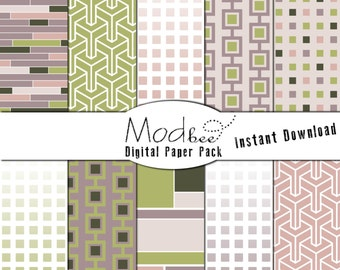 """Digital Paper 10 PACK - Geometric Green, Lavender, Plum and Pink (300 dpi) -- 10 designs - 12"""" by 12"""" Instant Download (084)"""