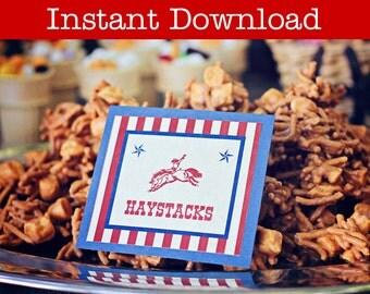 Printable Western Cowboy Food Labels - INSTANT DOWNLOAD