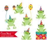 Hoppy Birthday Frogs Clip Art
