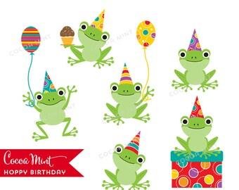 Hoppy Birthday Frogs Clip Art