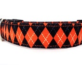 Dog Collar, Argyle Dog Collar / Black Orange Dog Collar / Plaid Dog Collar / Boy Dog Collar / Adjustable Dog Collar