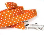 Polka Dot Dog Leash / Orange & White Dog Leash / Orange Dog Leash /
