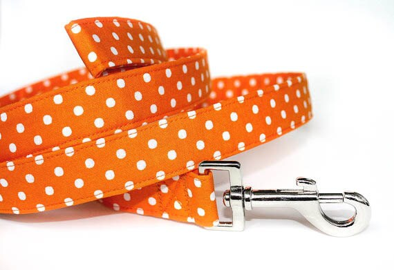 Fall Dog Leash / Orange & White Polka Dot Dog Leash / Halloween Dog Leash / Orange Dog Leash / Thanksgiving dog leash / Autumn dog leash