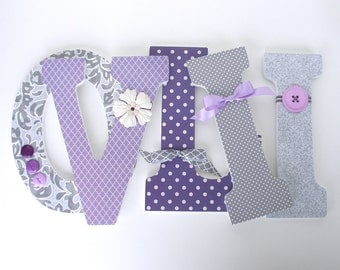 Baby Girl Custom Wooden Letters - Lavender and Gray - Hanging Wall Letters