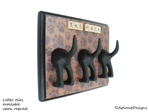 Dog Tail Leash Holder - Triple Paw Paws - Optional Letter Tiles