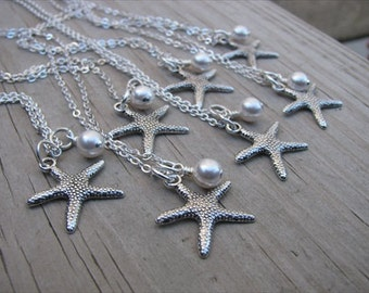 7 Bridesmaids Necklaces- Silver Starfish Necklaces- with pearl accent- set of 7