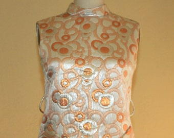 """1960s  Malcom Starr Op Art Quilted Lame Short Party Dress Size 36""""Bust"""