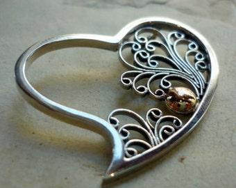 Sterling Silver Heart Pendant, Filigree Silver Pendant, Silver Gold pendant, valentines gift Pendant, Heart Pendant, Silver and Gold Heart.