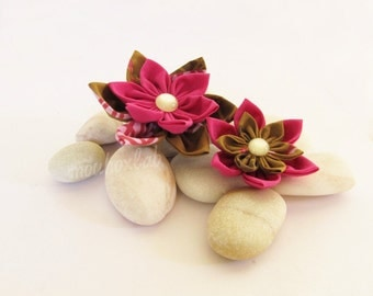 Fabric flower brooches Summer woman fabric accessories Gift for her Textile brooch - READY TO SHIP
