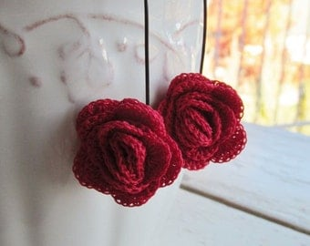 Red Red Rose Crochet Earrings - Floral - Garden Inspired - Crimson flower