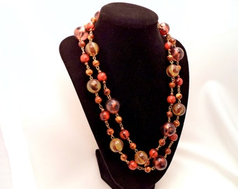 Vintage Long Bead Necklace Beautiful Autumn Colors