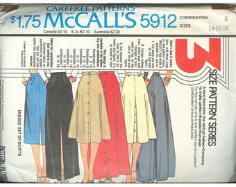 McCalls 5912 1970s Set Of Skirts