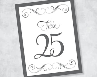 DIY do-it-yourself do it yourself Grey Gray and White Wedding Reception Table Numbers Number Cards Card Signs 1-44 pdf instant download