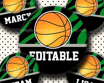 INSTANT DOWNLOAD Editable JPG Green Basketball (663) 4x6 Bottle Cap Images Digital Collage Sheet  bottlecaps hair bows bottlecap images