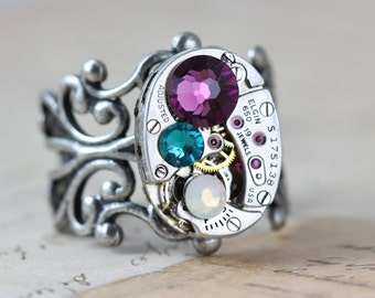 Steampunk Ring Custom Mothers Ring Birthstone Ring Watch Ring Personalized Grandmothers Ring Inspired by Elizabeth