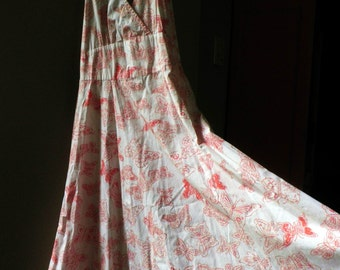 cotton HALTER Dress, white with orange BUTTERflies, Women's Size 8