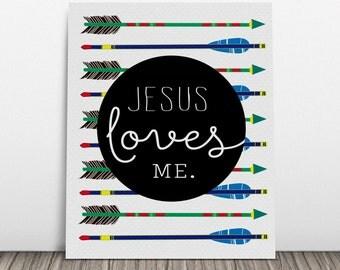 Jesus Loves Me with Arrows {DIGITAL} Art Print