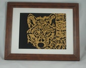 "Wolf Framed Wood Wall Hanging Art Decor Handmade From 8.5"" x 11"" Oak Wood Wolf Looking Close Up"