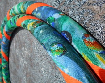 Green Galaxy Fabric Hula Hoop with Custom Tubing, Diameter & Grip Options! Great for Beginners!