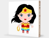 W for Wonder Woman : ABC Block Bamboo Wall Art Series // Alphabet Kids Wall Art Nursery Room Decor Superhero Sci-fi