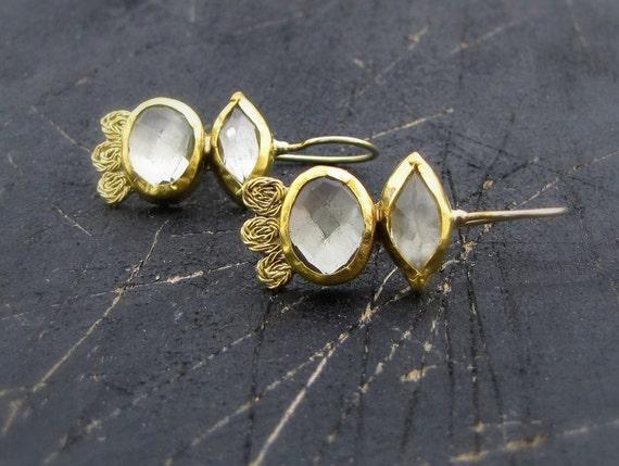 24k Gold Earrings with Green Amethyst