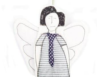 Cupid Textile wall hanging ornament -  B&W Modern fairy angel in wearing striped dress and Navy blue polka dot tie - handmade fabric doll